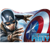 Captain America Invitations 8ct