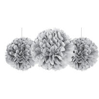 Silver Fluffy Decorations 3ct