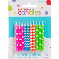 Neon Birthday Candles 2in 10ct