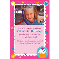 Cupcake Party Custom Photo Invitation