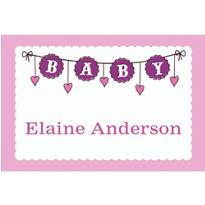 Custom Baby Clothesline Girl Thank You Notes