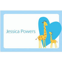Sweet Giraffes and Heart Boy Custom Thank You Note