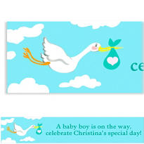 Custom Stork and Baby Bundle Baby Shower Banner 6ft