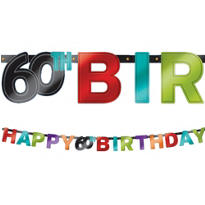 The Party Continues 60th Birthday Banner 7ft