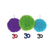 Deluxe The Party Continues 30th Birthday Fluffy Decorations 3ct