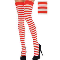 Adult Red and White Thigh-High Stockings