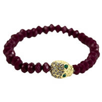 Purple Bead Skull Bracelet