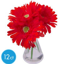 Red Gerbera Daisies in Vases 12ct