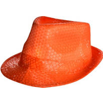 Black Light Neon Orange Fedora Hat