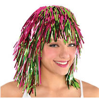 Neon Pink & Green Tinsel Wig