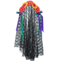 Day of the Dead Floral Headband with Veil