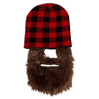 Red Buffalo Plaid Beanie with Beard