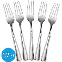 Bright Silver Look Forks 32ct