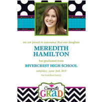Custom Bright Congrats Grad Photo Announcements