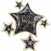 Foil Star Cluster Happy New Year Balloon 35in