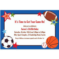 Sports Party Custom Invitation