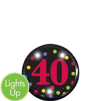 Light-Up 40th Birthday Button