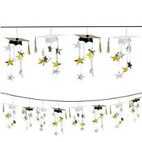 Black & Gold 3D Grad Cap Graduation Garland 12ft