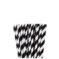 Black Striped Paper Straws 24ct