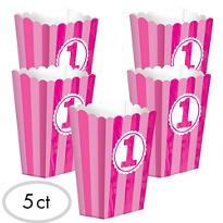 Pink Striped 1st Birthday Popcorn Boxes 5ct