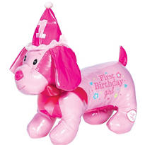 Pink Birthday Autograph Dog Plush