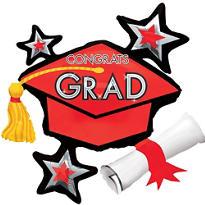 Red Star Graduation Cap Graduation Balloon