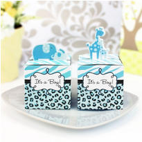 Blue Safari Baby Shower Favor Boxes 24ct