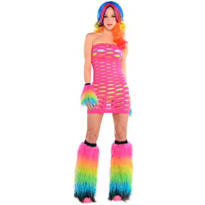 Adult Rainbow Electric Party Raver Costume