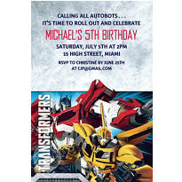 Transformers Core Custom Invitation