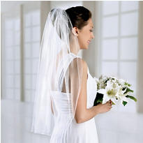 White Single Layer Wedding Veil
