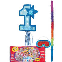 Pull String Blue 1st Birthday Pinata Kit