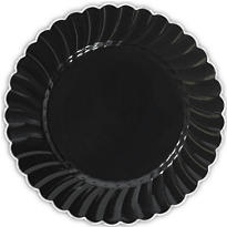 Black Scalloped Plastic Dinner Plates 10ct