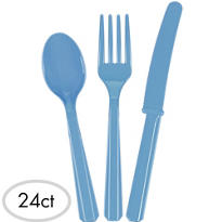 Pastel Blue Cutlery Set 24pc