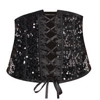Black Sequin Corset Waist Cincher
