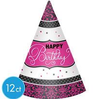 Black & Pink Happy Birthday Party Hats 12ct