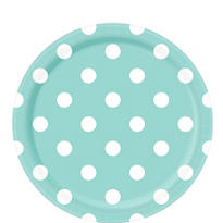 Robin's Egg Blue Polka Dot Lunch Plates 8ct
