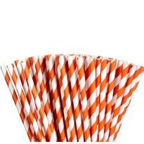 Orange Striped Paper Straws 80ct