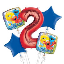 Sesame Street 2nd Birthday Balloon Bouquet 5pc