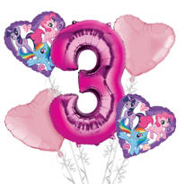 My Little Pony 3rd Birthday Balloon Bouquet 5pc