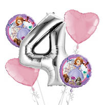 Sofia the First 4th Birthday Balloon Bouquet 5pc