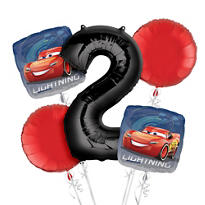 Cars 2nd Birthday Balloon Bouquet 5pc
