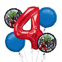 Avengers 4th Birthday Balloon Bouquet 5pc