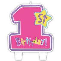 Hug & Stitches Girl's 1st Birthday Candle