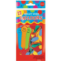 Smiley Worm Balloons 9in 12ct