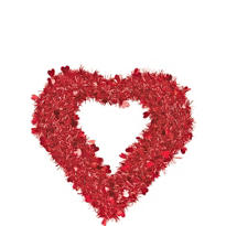 Tinsel Red Heart Wreath 15 1/2in