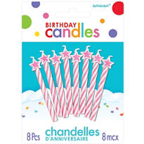Pink Spiral Birthday Candles with Stars 2in 8ct