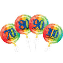 70th, 80th, 90th and 100th Birthday Balloons