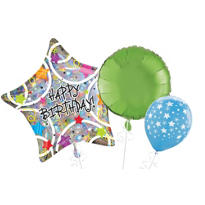 Holographic Star Birthday Balloons
