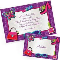 Custom Glitzy Girl Invitations & Thank You Notes