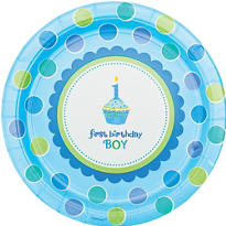 Sweet Cupcake Boy 1st Birthday Party Supplies